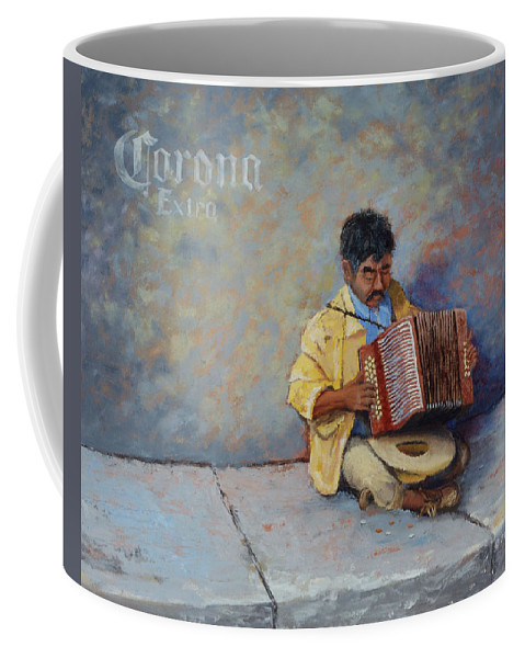 Mexico Coffee Mug featuring the painting Playing For Pesos by Jerry McElroy
