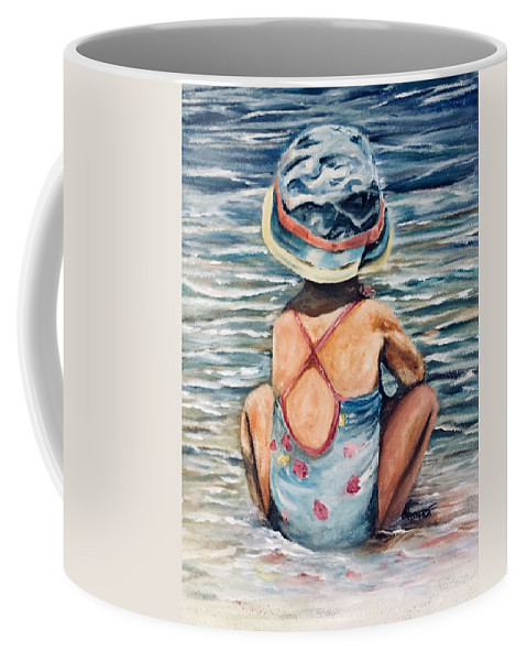 Water Scape Coffee Mug featuring the painting Playing In The Waves by Chuck Gebhardt