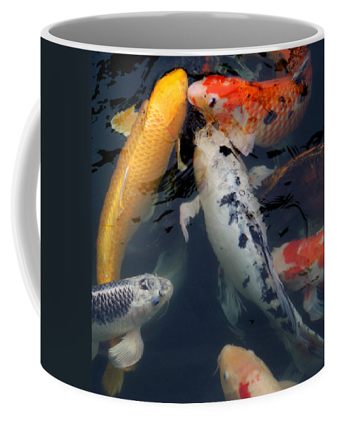 Fish Coffee Mug featuring the photograph Playing Koi by Jean Haynes