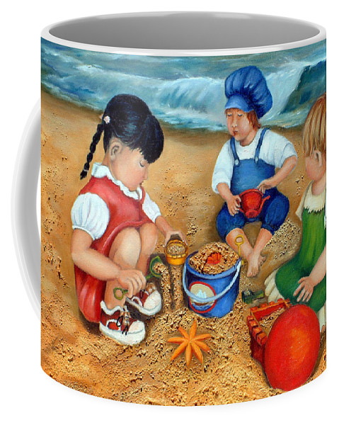 Beach Coffee Mug featuring the painting Playtime At The Beach by Portraits By NC