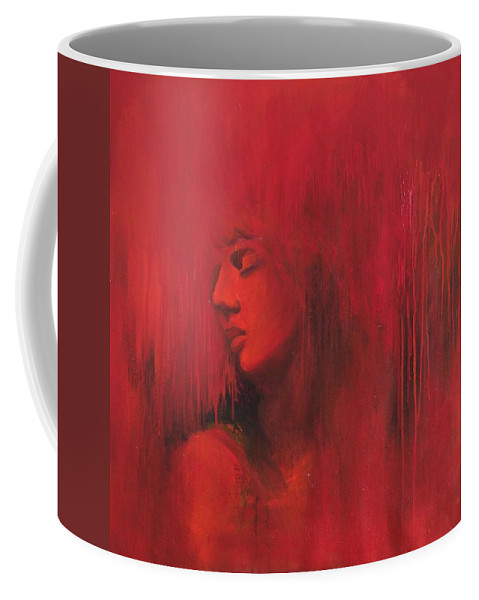 Love Lust Life Abstraction Figurative Contemporary Red Coffee Mug featuring the painting Pleasure by Lucky Sharma