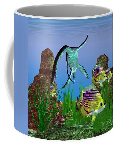 Plesiosaurus Coffee Mug featuring the painting Plesiosaurus Attack by Corey Ford