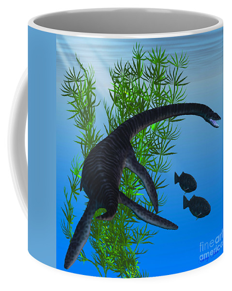 Plesiosaurus Coffee Mug featuring the painting Plesiosaurus by Corey Ford