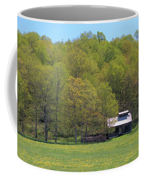 Sugar Shack Coffee Mug featuring the photograph Plum Hollow Sugar Shack In Spring by Valerie Kirkwood