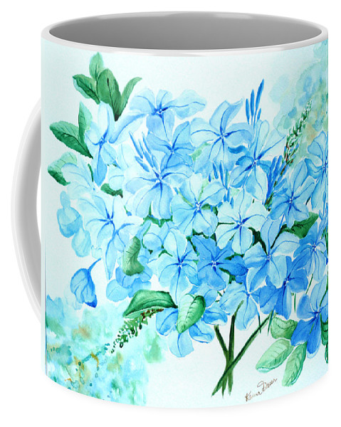 Floral Blue Painting Plumbago Painting Flower Painting Botanical Painting Bloom Blue Painting Coffee Mug featuring the painting Plumbago by Karin Dawn Kelshall- Best