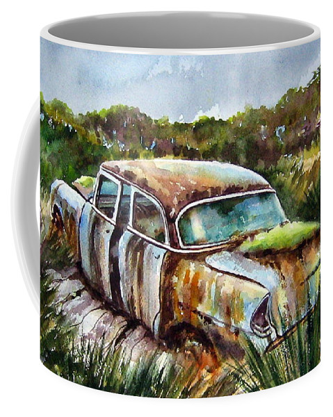 Plymouth Coffee Mug featuring the painting Plymouth On The Rocks by Ron Morrison