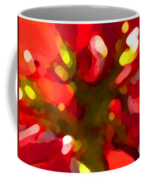 Abstract Painting Coffee Mug featuring the painting Poinsetta by Amy Vangsgard