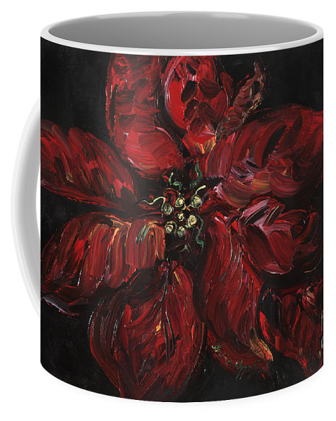 Abstract Coffee Mug featuring the painting Poinsettia by Nadine Rippelmeyer