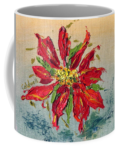 Red Flower Christmas Holiday Green Coffee Mug featuring the painting Poinsettia by Patricia Caldwell