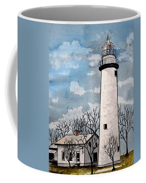 Lighthouse Painting Coffee Mug featuring the painting Point Aux Barques Lighthouse by Derek Mccrea