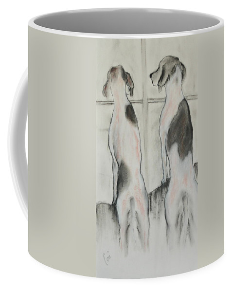 Pastel Coffee Mug featuring the drawing Point Of View by Cori Solomon