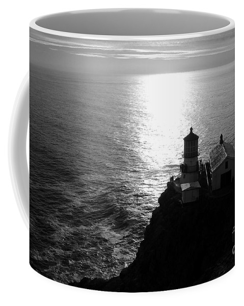 Lighthouse Coffee Mug featuring the photograph Point Reyes Lighthouse - Black And White by Carol Groenen