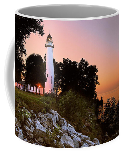 Landscape Coffee Mug featuring the photograph Pointe Aux Barques by Michael Peychich