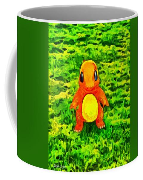 Pokemon Go Charmander Coffee Mug featuring the digital art Pokemon Go Charmander - Da by Leonardo Digenio