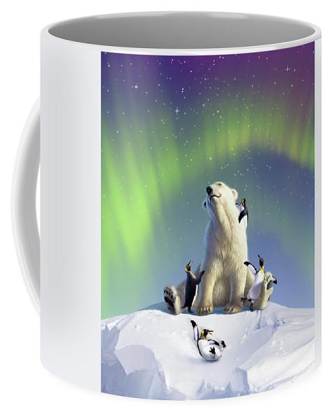 Aurora Coffee Mug featuring the digital art Polar Opposites by Jerry LoFaro