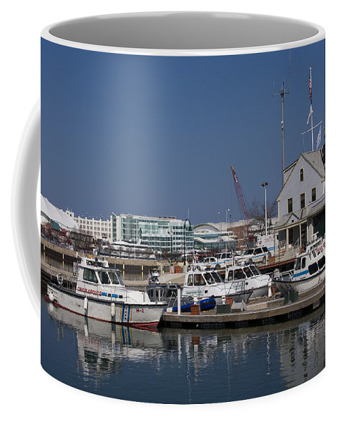 Chicago Windy City Police Station Lake Michigan Water Blue Sky Water Coffee Mug featuring the photograph Police Station by Andrei Shliakhau