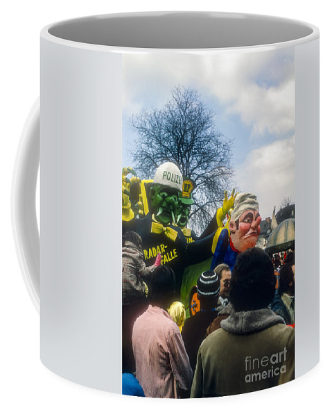 Rosenmontag Parade Mainz Germany Float Floats People Person Persons Creature Creatures Festival Festivals Police Polizei Caricature Caricatures Artwork Odds And Ends Coffee Mug featuring the photograph Polizei by Bob Phillips
