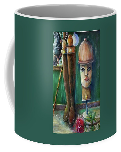 Polo Coffee Mug featuring the painting Polo Day by Bernadette Krupa