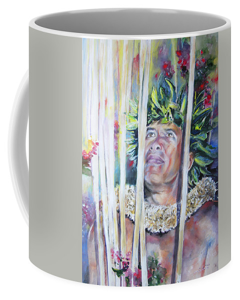 Polynesia Coffee Mug featuring the painting Polynesian Maori Warrior With Spears by Miki De Goodaboom