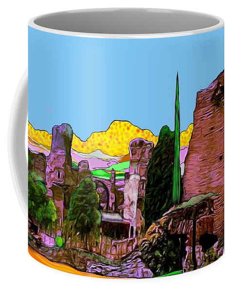 Italy Coffee Mug featuring the digital art Pompeii by Jack Monninger
