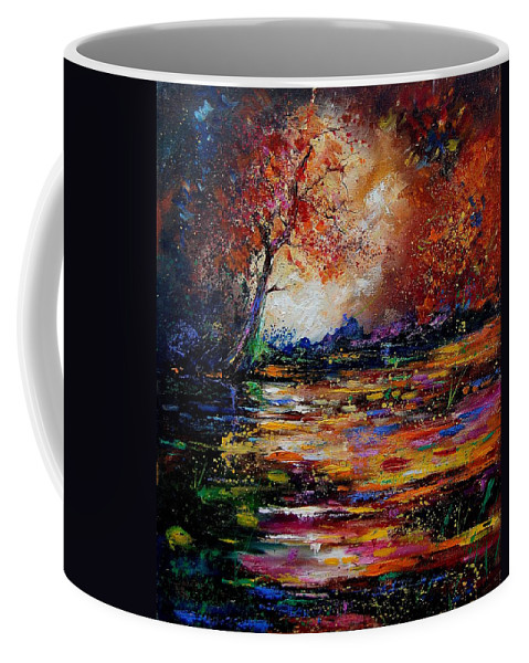 River Coffee Mug featuring the painting Pond 671254 by Pol Ledent