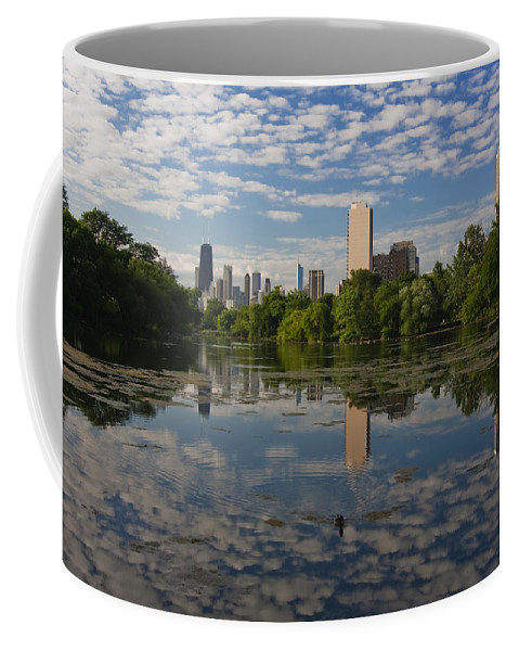 Chicago Skyline Coffee Mug featuring the photograph Pond And The Chicago Skyline by Sven Brogren