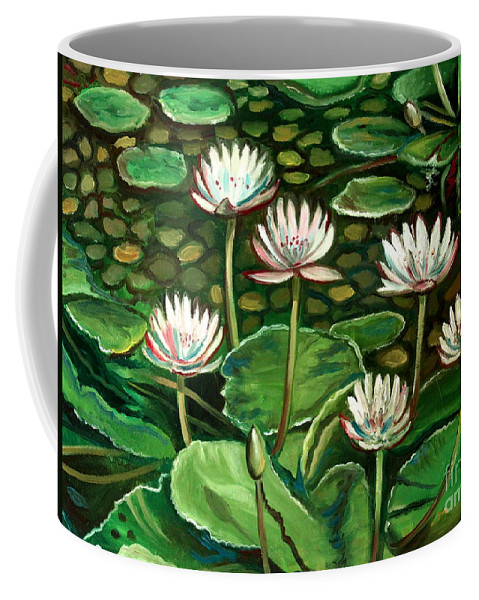 Water Coffee Mug featuring the painting Pond Of Petals by Elizabeth Robinette Tyndall