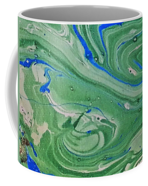 Coffee Mug featuring the painting Pond Swirl 1 by Jan Pellizzer