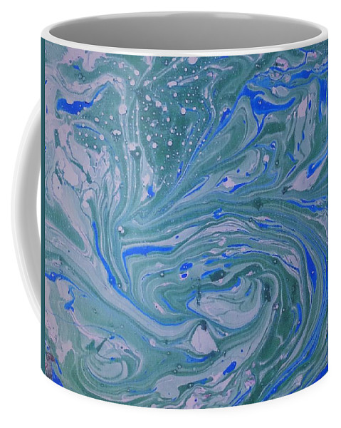 Coffee Mug featuring the painting Pond Swirl 3 by Jan Pellizzer