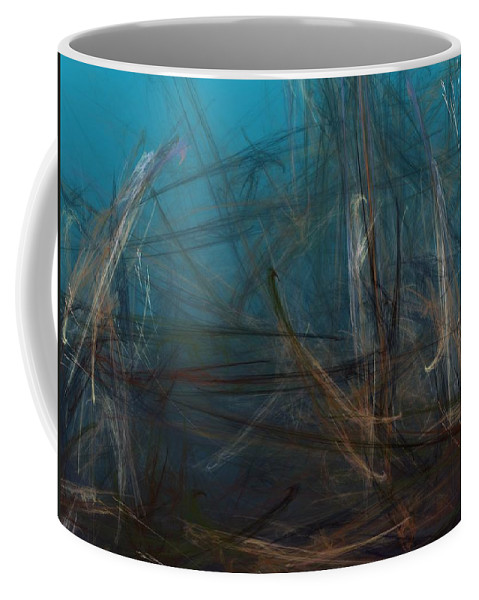 Abstract Digital Painting Coffee Mug featuring the digital art Pond Water by David Lane