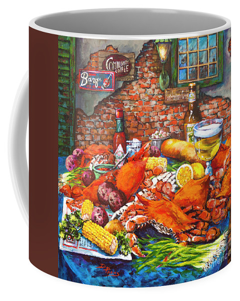 New Orleans Food Coffee Mug featuring the painting Pontchartrain Crabs by Dianne Parks