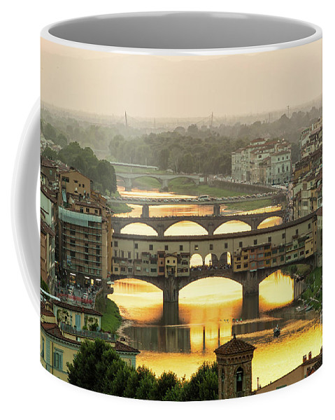 Sunset Coffee Mug featuring the photograph Ponte Vecchio Enlighten By The Warm Sunlight, Florence. by Antonio Gravante