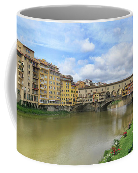 Ponte Vecchio Coffee Mug featuring the photograph Ponte Vecchio Panorama by Dave Mills