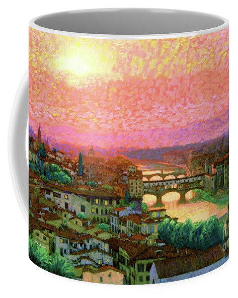 Ponte Vecchio Coffee Mug featuring the painting Ponte Vecchio Sunset Florence by Jane Small