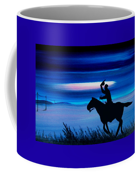Horse Coffee Mug featuring the painting Pony Express Rider Blue by Reggie Hart