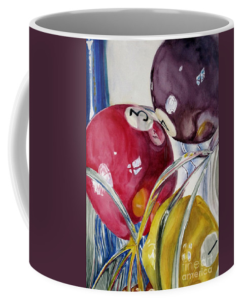 Still Life Coffee Mug featuring the painting Pool Balls In A Vase by Karen Boudreaux