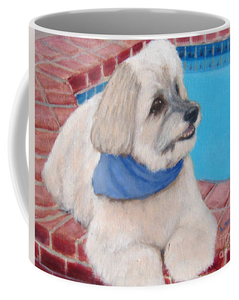 Dogs Coffee Mug featuring the painting Poolside Puppy by Laurie Morgan