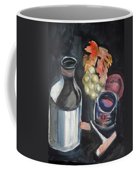 Grapes Coffee Mug featuring the mixed media Pop The Cork by Charme Curtin