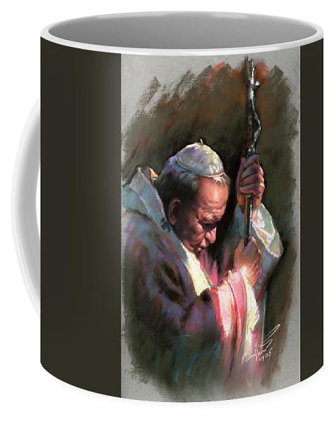 Portrait Coffee Mug featuring the pastel Pope John Paul II by Ylli Haruni