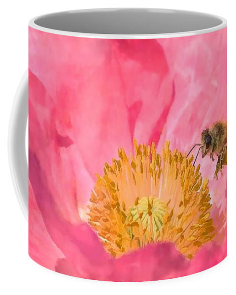 Flower Coffee Mug featuring the painting Poppies And Bumble Bee by Jeelan Clark