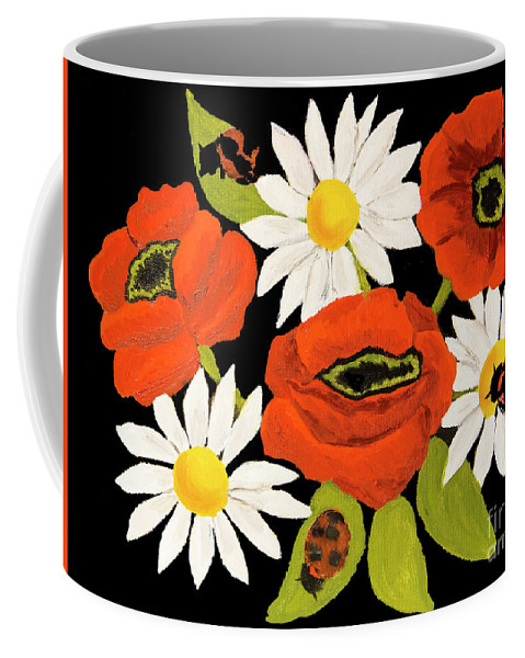 Poppy Coffee Mug featuring the painting Poppies And Camomiles, Oil Painting by Irina Afonskaya