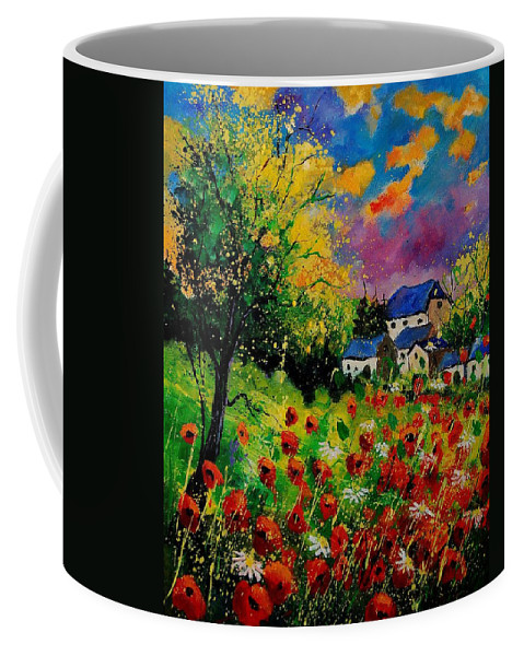 Landscape Coffee Mug featuring the painting Poppies and daisies 560110 by Pol Ledent