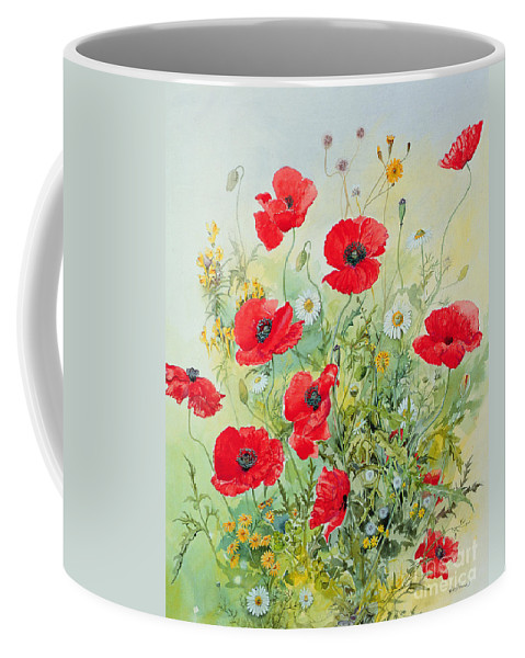 Flowers; Botanical; Flower; Poppies; Mayweed; Leaf; Leafs; Leafy; Flower; Red Flower; White Flower; Yellow Flower; Poppie; Mayweeds Coffee Mug featuring the painting Poppies And Mayweed by John Gubbins