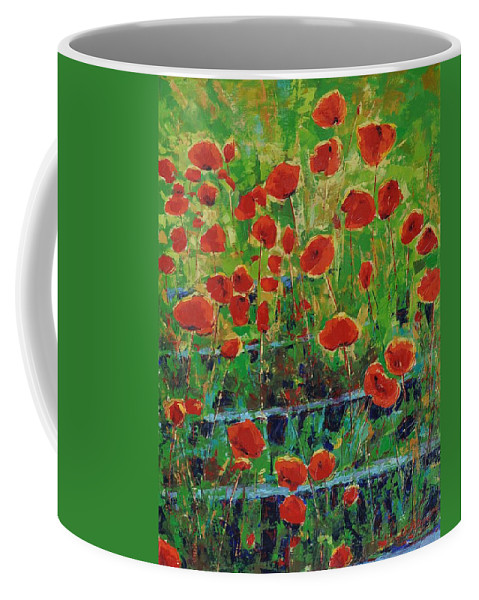 Poppies Coffee Mug featuring the painting Poppies And Traverses 1 by Iliyan Bozhanov