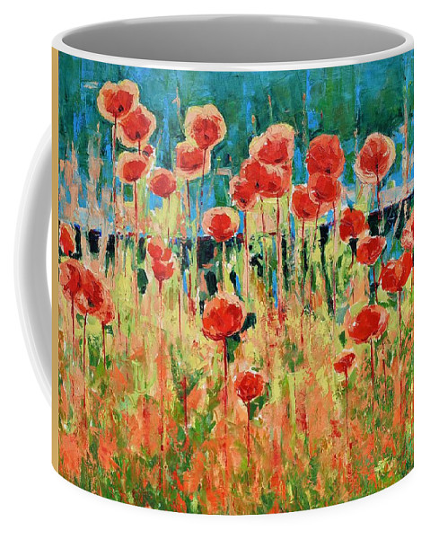 Poppies Coffee Mug featuring the painting Poppies And Traverses 2 by Iliyan Bozhanov
