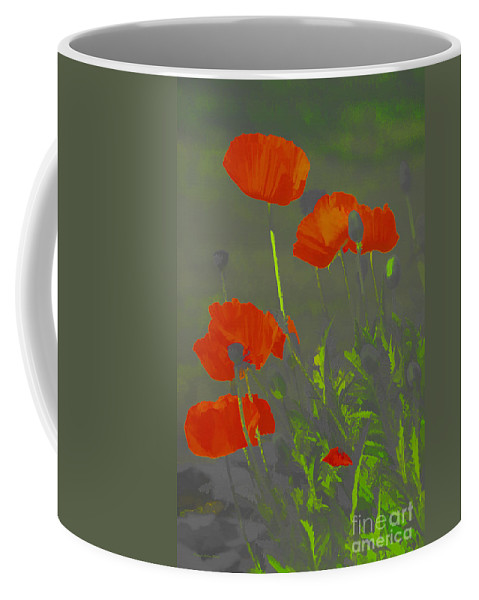 Poppies Coffee Mug featuring the photograph Poppies In Neon by Deborah Benoit