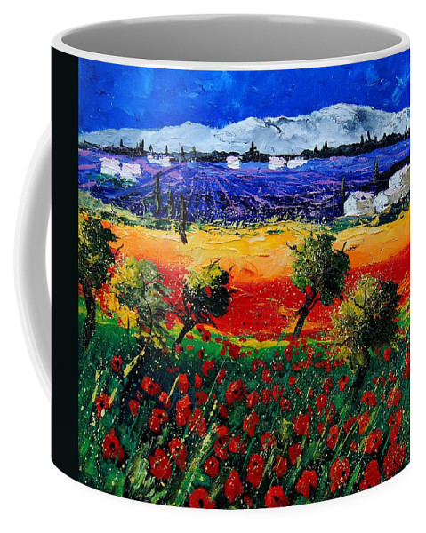 Poppy Coffee Mug featuring the painting Poppies in Provence by Pol Ledent