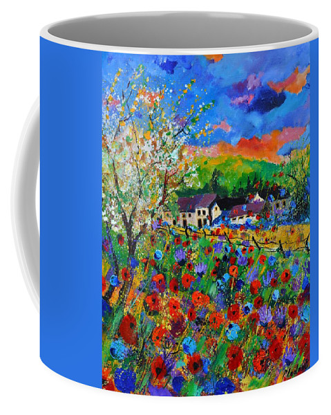 Poppies Coffee Mug featuring the painting Poppies in Sorinnes by Pol Ledent