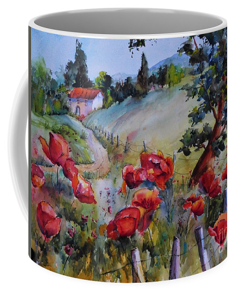 Watercolor Coffee Mug featuring the painting Poppies In The Field by Jacqueline Newbold