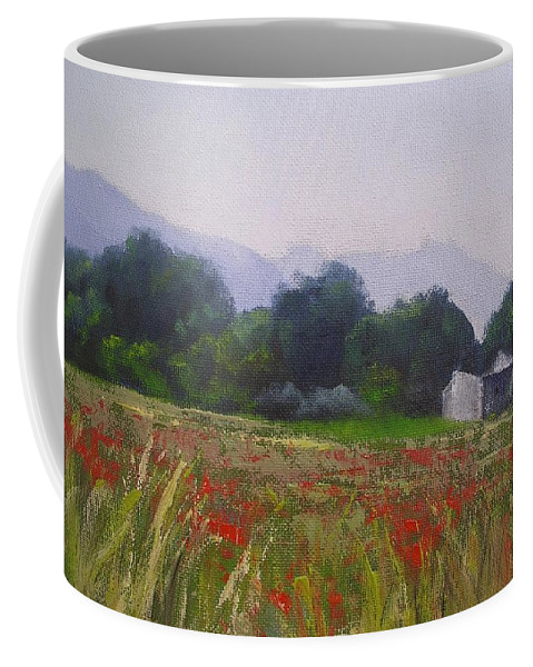 Tuscan Farm Painting Coffee Mug featuring the painting Poppies In Tuscany by Chris Hobel